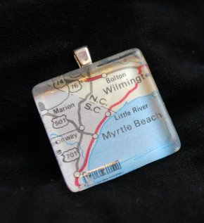 Map Tile Necklace